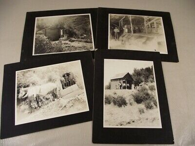 4 Photographs on Board Little Bonanza Quicksilver Mining 1890s N. California