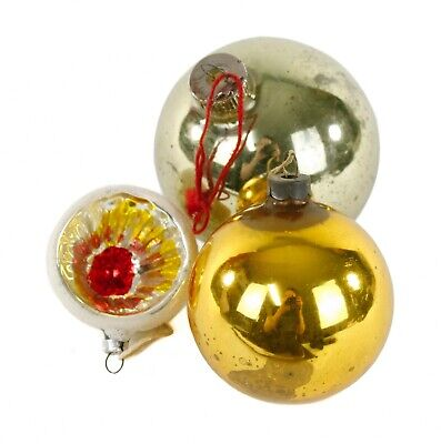 Gold Glass Ball Lot of 3 Christmas Ornament Holiday Decoration