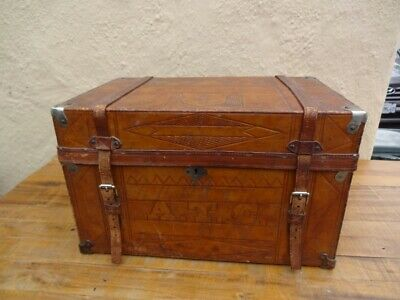 Antique Leather Wood Document Box Trunk Placerville Calif. Hand Tooled