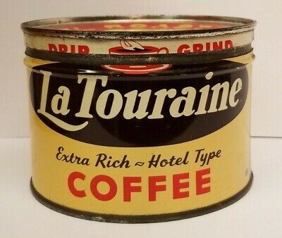 1/2 Lb. La Touraine Coffee Can Tin with lid