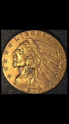 1909 $2 1/2 GOLD 1/4 Eagle U.S. Indian Coin Encased Nice Condition
