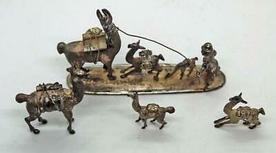 Peruvian sterling silver miners and llamas figural group - BIN