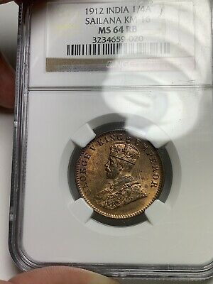 T15 British India 1912 Sailana 1/4 Anna Copper Rare NGC MS 64 RB💎 🔝🎯