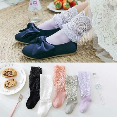 Kids Girls Knee High Frilly Lace Socks Baby Toddler Wedding Party Long Socks New