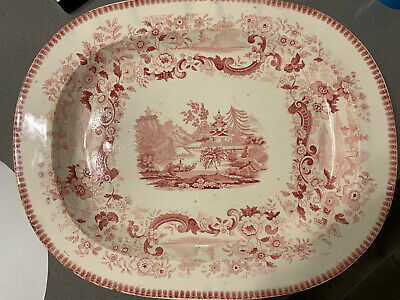 19c ANTIQUE RED AND WHITE TRANSFERWARE OVAL SERVING PLATTER