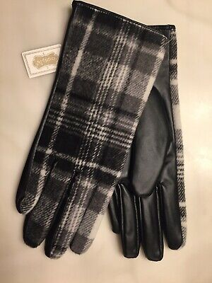 NWT Beautiful! Mud Pie Womens Gloves Black White Plaid Black Leather