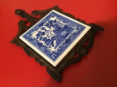 Antique Blue And White Tile And Metal Tea Pot Stand...Japan