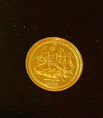 """""""2016 Isle of Man Angel 999 Fine Gold 1/10oz Coin"""" Cased"""