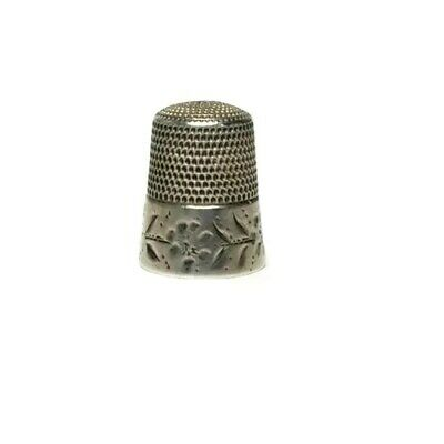 Antique Simons Brothers Sterling Silver No. 11 Thimble Cut Flower & Leaves