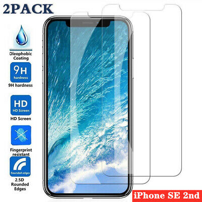 2 Pcs Tempered Glass For iPhone SE 2 11 Pro Max XS XR 7 8 Screen Protect Premium
