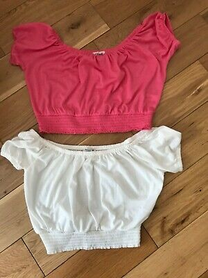 Girls 2X Cropped Tops Pink And White River Island Age 11-12 Years