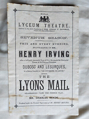 HENRY IRVING The Lyons Mail THE LYCEUM THEATRE, LONDON Old Programme - Charles I