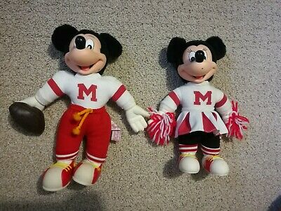 Antique Mickey & Minnie Mouse Plush Football Player & Cheerleader