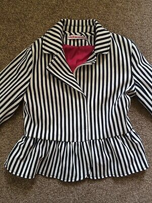 Girls Black & White Striped Jacket by Freespirit With Pink Lining Size 9-10 Yrs