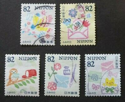 JAPAN USED 2018 LETTER WRITING DAY 82 yen 10 VAL VF COMPLETE SET SC# 4219 a - e