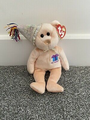Ty Retired Beanie Babies ©2002~ Birthday Bear ~ October ~ Mint with Tags