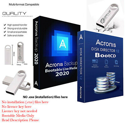 Acronis True Image 2020 BOOTABLE 8GB USB Backup Restore to another Drive SSD NEW