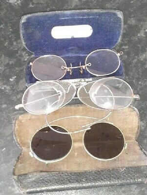 Three Pairs Antique Spectacles Rolled Gold pince nez and two others, steampunk