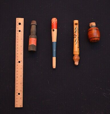 Antique Wooden Whistles - Four