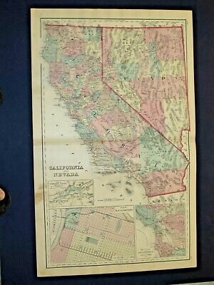 Antique 1878 Map Of California & Nevada, Reverse Side Oregon & Washington