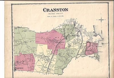 1870 Cranston, Ri. Map That Has Been Removed From The Beer's 1870 Atlas