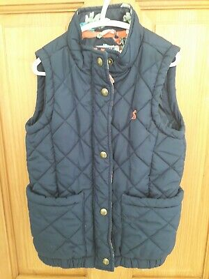 Joules Girls Age 7 Years Navy Blue Quilted Padded Gilet Bodywarmer