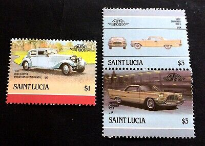 Saint Lucia 🇱🇨 1986 cars - 3 mint stamps Michel No. 867, 870, 871