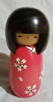 """Japanese Woody Craft 5.5"""" KOKESHI Doll Pink/red Kimono with Flowers"""