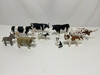 Schleich Farm Animals Lot HOLSTEIN COW Sheep Longhorn figures