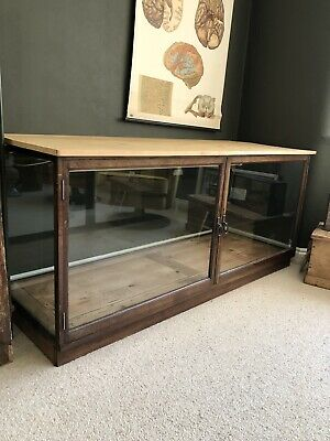 Vintage Antique Large Glass Shop Display Cabinet Counter Haberdashery