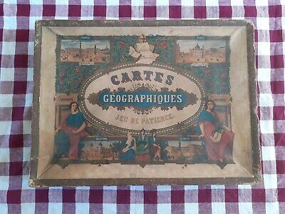 Antique French Boxed Atlas Jigsaws 19 century