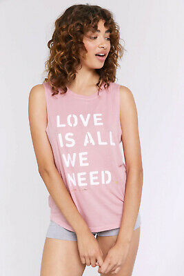 Spiritual gangster women's love is all we need muscle tank pink new size m