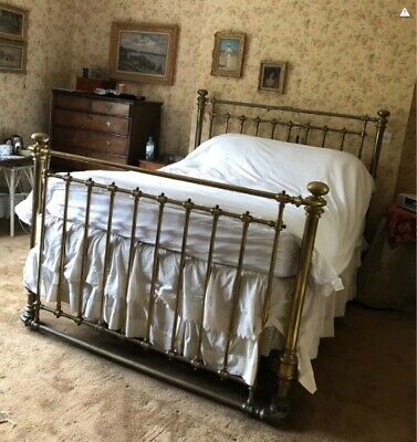 Genuine Antique Victorian Brass and Iron King Size 5ft Bedstead & Sprung base