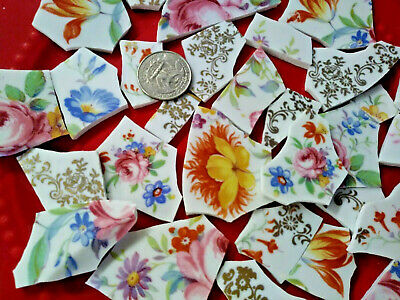 """ SHARDS OF ROSE FLORAL & GOLD FILIGREE "" Broken CHINA PLATE MOSAIC TILES Chic!"