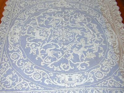 Antique Filet Lace Tablecloth w Complex Animal Imagery