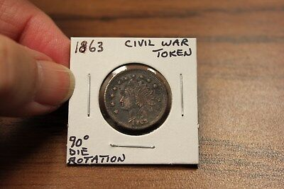 1863 Civil War Grocery Token With 90% Die Rotation