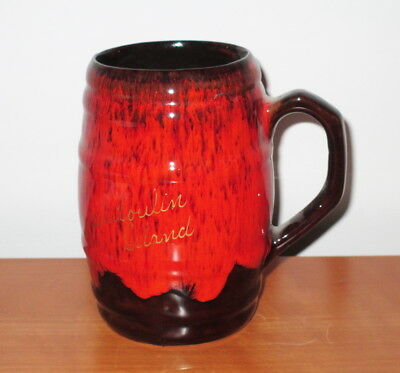 Evangeline Pottery Mug Tankard Brown Red Drip Barrel Souvenir Manitoulin Island
