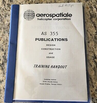 Maintenance Training Manual Aerospatiale Eurocopter AS355 TwinStar Helicopter