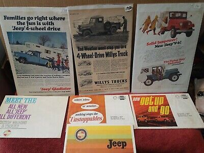 Lot of 7 Different Vintage Jeep Sales Literature 1960s Mailers, Ads, Brochures