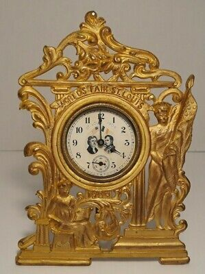 "1904 World's Fair St. Louis Clock, Gold Color Gilt, 7"", Jefferson Napoleon Face"