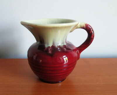 "Hand Made German Pottery Pitcher Jug Red Cream Drip Signed 4 1/2"" Germany"