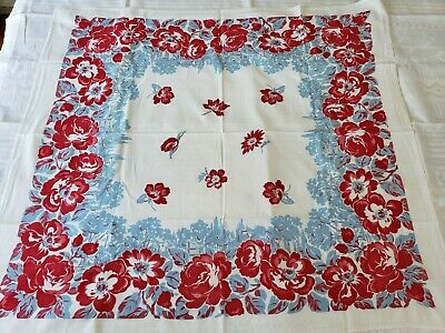 Vintage 1940's Printed Tablecloth Red Blue Floral