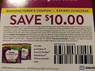 Similac Alimentum Coupon 2 $10 Coupons $20 Total