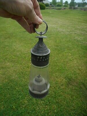 Mid 19th Century Punched Tin & Glass Whale Oil Lantern.  Early Lantern