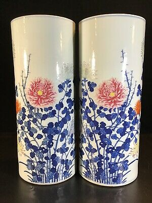 PAIR finest ANTIQUE CHINESE PORCELAIN VASES FAMILLE Rose Drilled