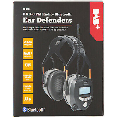 FM/DAB+ Radio Ear Defenders Ear Protectors with Bluetooth rechargeable battery