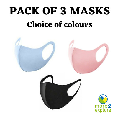 Pack of 3 Face Mask /Coverings. Washable & Reusable. Black, Grey or Pink. UK
