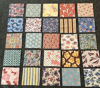 Lot Of 25 Different Vintage Feedsack Cotton Quilt Blocks 5x5 Inch Nice Variety