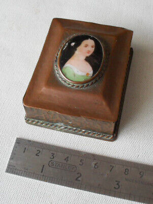 Small Antique Arts and Crafts Copper Box with Hand-Coloured Ceramic Portrait.