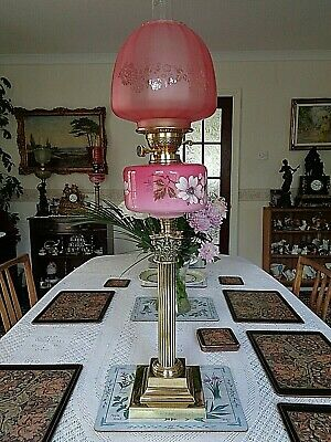 "A Fine Quality Antique Victorian 29"" Tall  Banquet Table Oil Lamp."